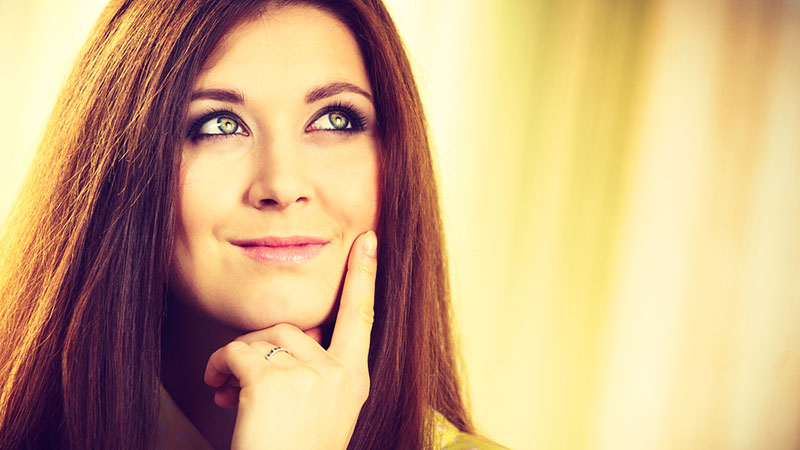 Woman thinking of sedative filling